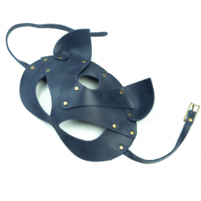 Премиум маска кошечки LOVECRAFT, натуральная кожа, голубая, подарочная упаковка