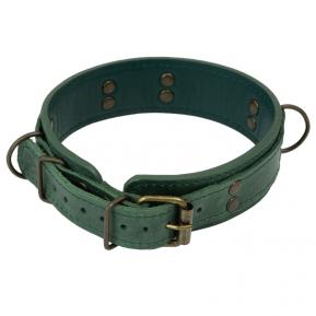 Премиум ошейник LOVECRAFT размер M зеленый, натуральная кожа, в подарочной упаковке
