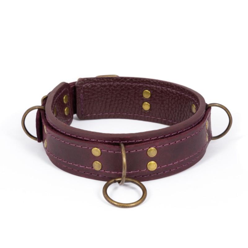 Премиум ошейник LOVECRAFT размер M фиолетовый, натуральная кожа, в подарочной упаковке