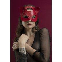 Маска кошечки Feral Feelings - Catwoman Mask, натуральная кожа, красна...
