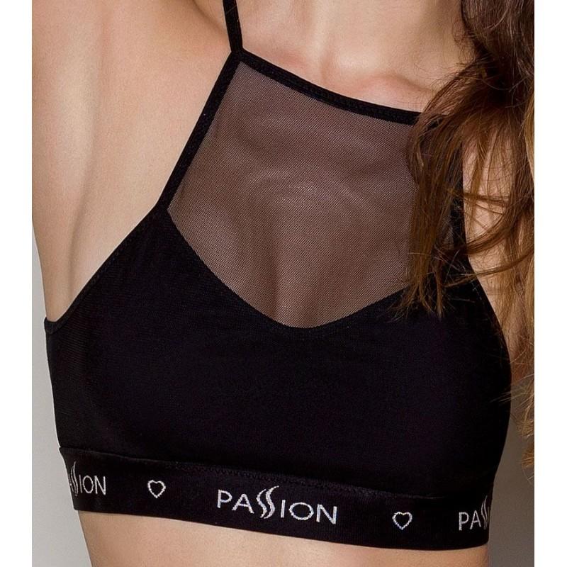 Спортивный топ с прозрачной вставкой Passion PS006 TOP black, size M
