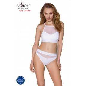 Спортивный топ с прозрачной вставкой Passion PS006 TOP white, size M