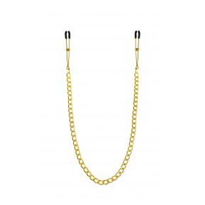 Тонкие зажимы для сосков с цепочкой Feral Feelings - Chain Thin nipple clamps, золото/черный