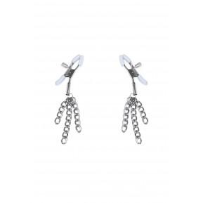 Зажимы для сосков с кисточками Feral Feelings - Nipple clamps Tassels, серебро/белый