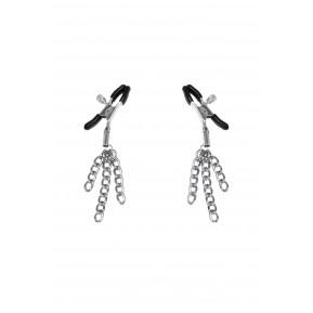 Зажимы для сосков с кисточками Feral Feelings - Nipple clamps Tassels, серебро/черный