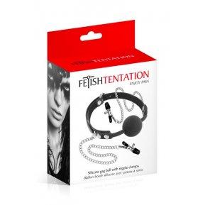 Кляп с силиконовым шариком и зажимами для сосков Fetish Tentation Gag Ball with Nipple Clamps