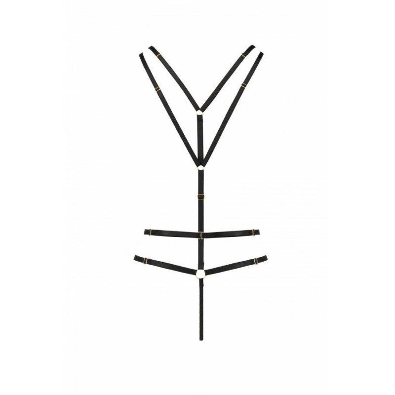 Открытое боди из стреп MEGGY black L/XL - Passion Exclusive