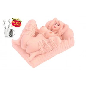 Мастурбатор мини-кукла Kokos Erica Deluxe с вибрацией и массажем, один вход: вагина