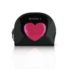 Романтический набор Rianne S: Kit d'Amour: вибропуля, перышко, маска, чехол-косметичка Black/Pink