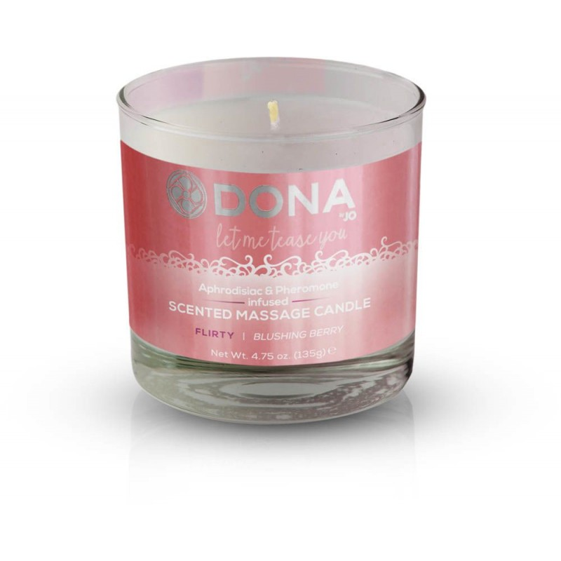 Массажная свеча DONA Scented Massage Candle Blushing Berry FLIRTY (135гр) с афродизиаками феромонами