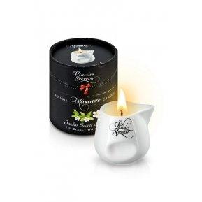 Массажная свеча Plaisirs Secrets White Tea (80 мл) подарочная упаковка, керамический сосуд