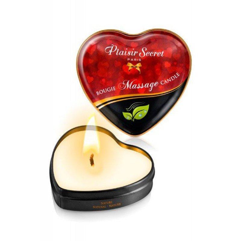 Массажная свеча сердечко Plaisirs Secrets Natural (35 мл)