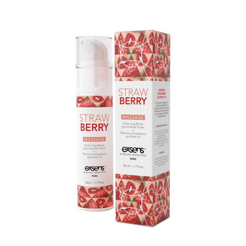 Массажное масло EXSENS Strawberry 50мл разогревающее, без сахара, без парабенов, съедобное