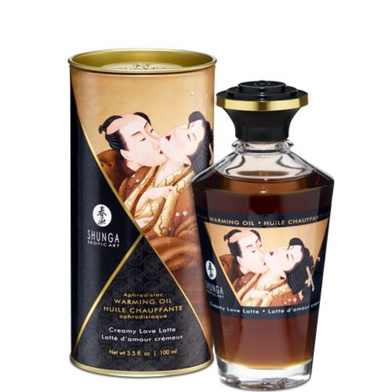 Разогревающее масло Shunga Aphrodisiac Warming Oil - Creamy Love Latte (100 мл) без сахара, вкусный