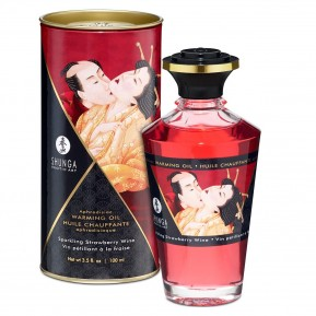 Разогревающее масло Shunga Aphrodisiac Warming Oil - Sparkling Strawberry Wine (100 мл) без сахара