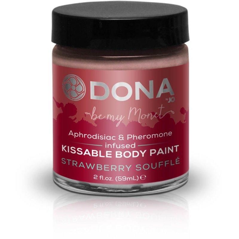 Краска для тела Dona Kissable Body Paint - STRAWBERRY SOUFFLE с феромонами и афродизиаками, кисточка