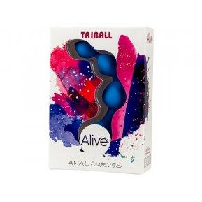 Анальные шарики Alive Triball Blue, силикон, макс. диаметр 2см