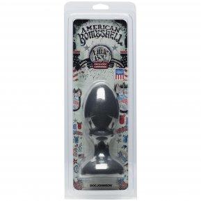 Анальная пробка Doc Johnson American Bombshell Little Boy - Gun Metal, диаметр 5,59 см