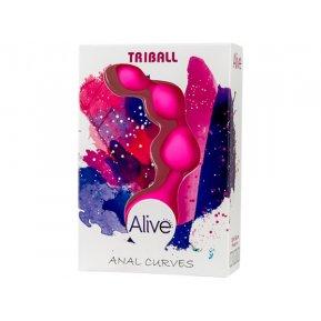 Анальные шарики Alive Triball Pink, силикон, макс. диаметр 2см