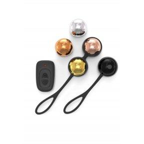 Набор вагинальных шариков Dorcel Training Balls, диам. 3,4см, вес 20-117гр, есть вибрация, пульт ДУ