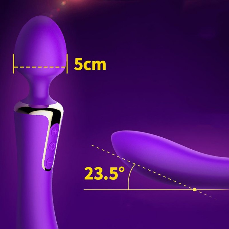 Вибромассажер 2-в-1 Leten AV Heat Purple с подогревом, классический вибромассажер и вибратор