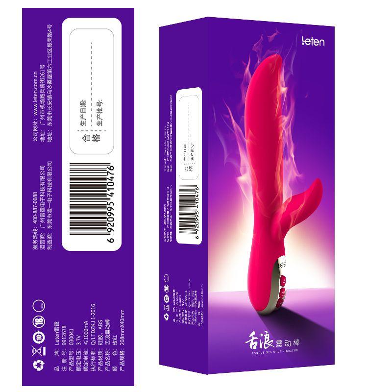 Волновой вибратор с подогревом Leten Tongue Wave Vibrator, мягкий кончик, волновой массаж